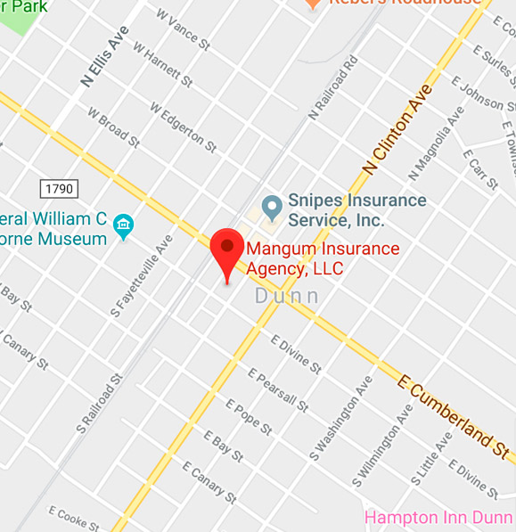 Mangum Insurance Dunn, NC Map
